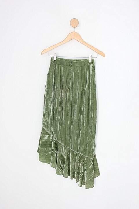 Saia assimétrica vivaz feminina verde com forro_foto de costas