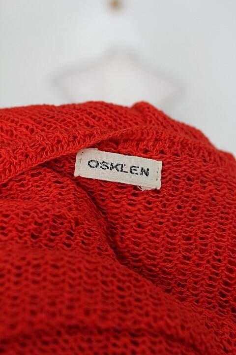 Bolero de tricô Oslken feminino laranja_foto de detalhe
