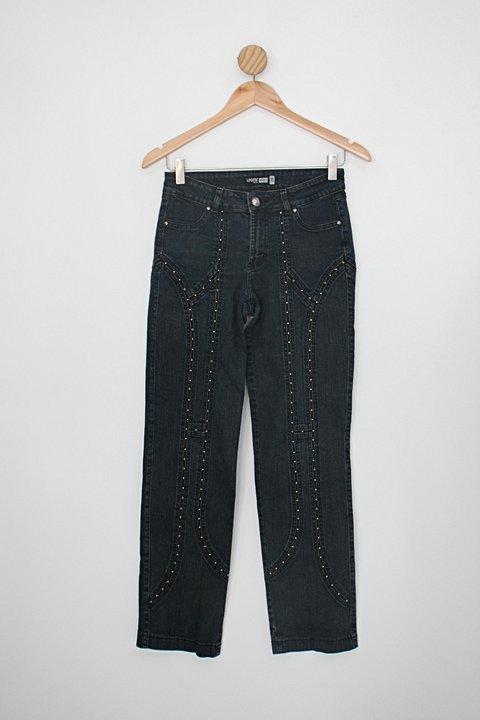 Calça loony jeans feminina azul com Strass_foto principal