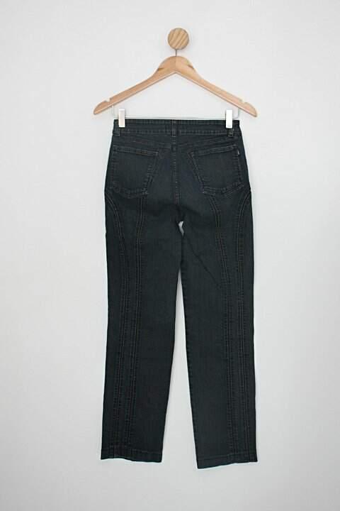 Calça loony jeans feminina azul com Strass_foto de costas