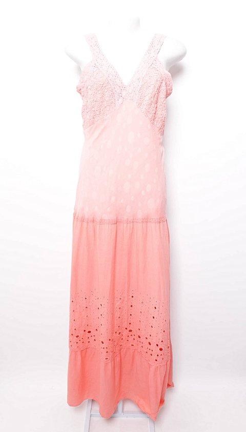 Vestido Longo Texturizado e Vazado Rosa_foto principal