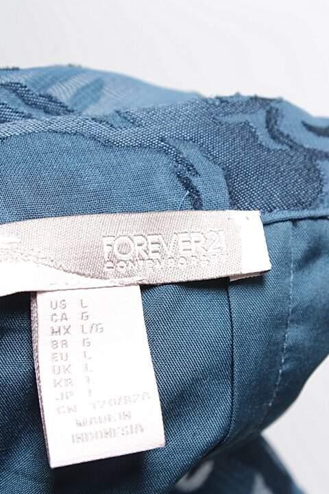 Saia Forever 21 Texturizada Azul _foto de costas