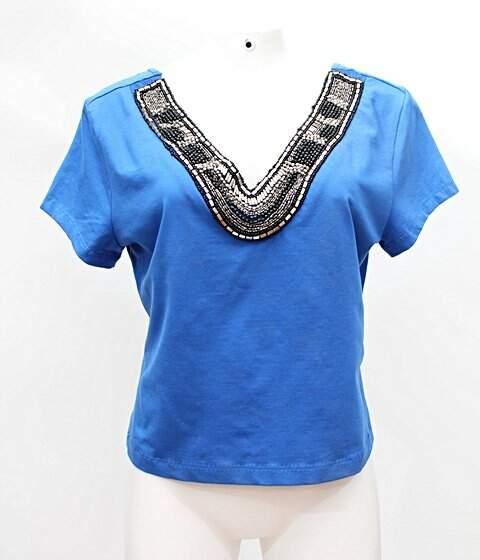 a1fabf0b7d Blusa Liritty Azul Bordada - compre por menos