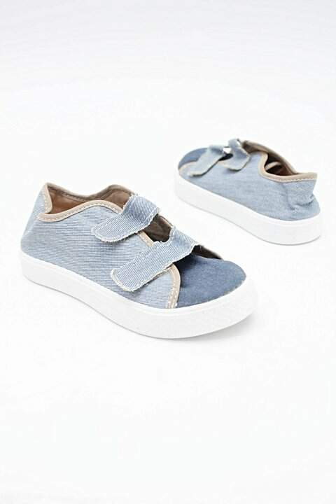 Tênis Infantil Jeans Com Velcro_foto de frente