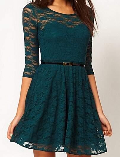 Vestido de Renda Verde Escuro _foto principal