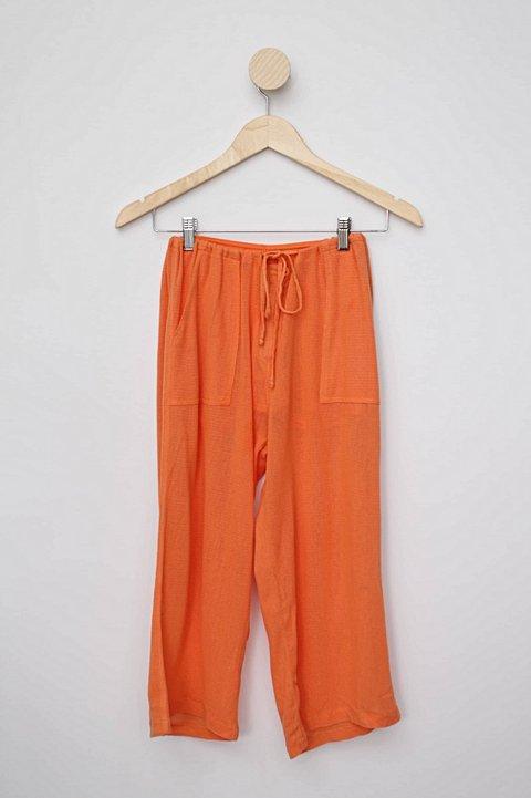 Calça de tecido pantacourt laranja rosa chá_foto principal