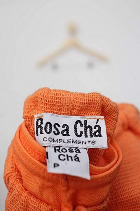 Calça de tecido pantacourt laranja rosa chá_foto de detalhe