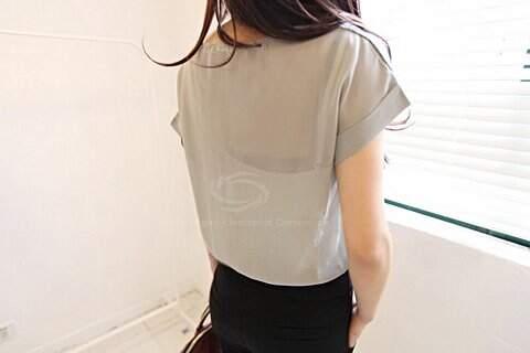 Blusa de Chiffon Com Transparência _foto de detalhe