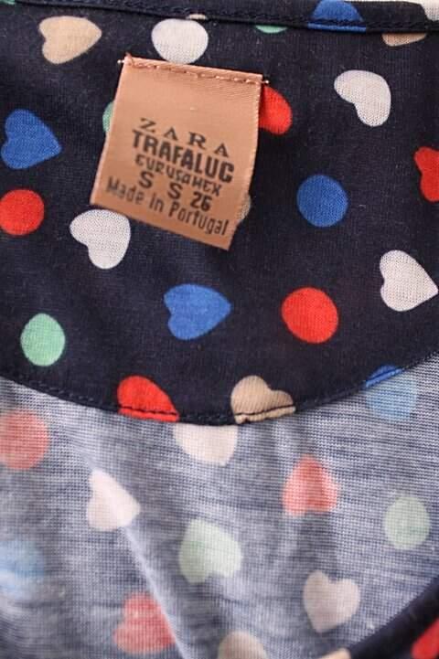 Vestido Zara Azul Marinho com Corações_outra foto